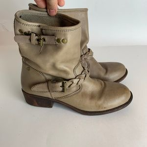 Report Grey Moto Leather Ankle Boots Size 8